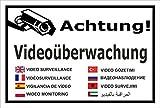 Video-Überwachung Aufkleber - Achtung Videoüberwachung - in 8 Sprachen – 45x30cm – S00348-011-A – Kamera-Überwachung +++ in 20 Varianten erhältlich