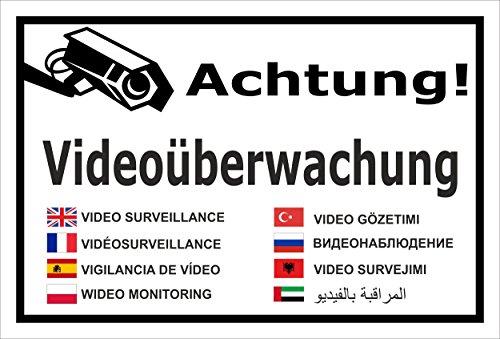 Melis Folienwerkstatt Schild - Video-überwachung - 15x10cm | Bohrlöcher | 3mm Aluverbund - S00348-011-A 20 VAR Gefälschte Video-Überwachung