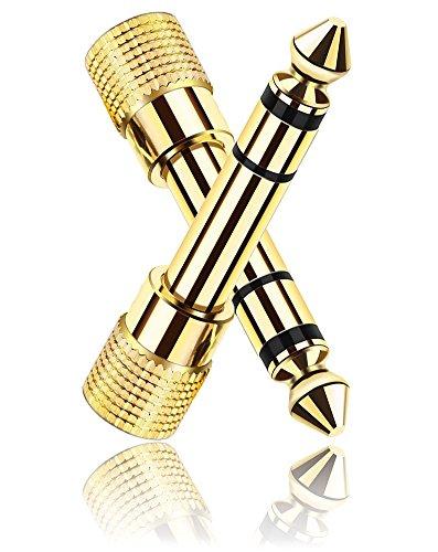 Klinken-Adapter 6,35mm auf 3,5mm | 2 Audio Adapter für 3,5mm Klinkenstecker, Klinkenadapter | Störungsfreie Tonübertragung | Aus vergoldetem Kupfer | Für Kopfhörer, Hi-Fi-Anlagen, Lautsprecher