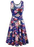 Damen Vintage Sommerkleid Traeger mit Flatterndem Rock Blumenmuster, Blau, Gr. X-Large / EU 42