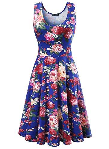 Damen Vintage Sommerkleid Traeger mit Flatterndem Rock Blumenmuster, Blau, Gr. XXX-Large / EU 46-48 (Floral Herbst Rock)