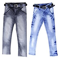 fourgee Boys Regular Fit Jeans - Combo Pack of 2 (008-12, Blue, 7-8 Years)