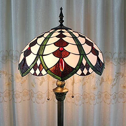 SINCERE@ Tiffany 16-Inch Européenne Pastorale Luxe Élégant Creative Main Stained Glass Tiffany Floor Lamp