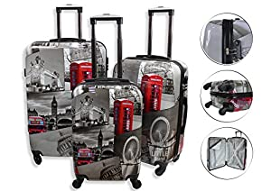 Lightweight 4 Wheel Hard Shell PC London Printed Luggage Set Suitcase Cabin Travel Bag