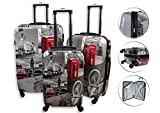 "Lightweight 4 Wheel Hard Shell PC London Printed Luggage Set Suitcase Cabin Travel Bag (Set of 3 (20""+24""+28""))"