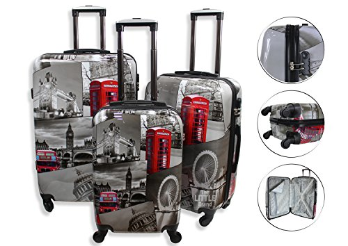 "Lightweight 4 Wheel Hard Shell PC London Printed Luggage Suitcase Cabin Travel Bag (Small 20 "" (Cabin Size))"