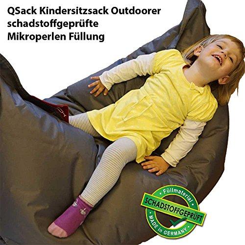 QSack Outdoorer Kindersitzsack, mit Innenhülle und Toxproof Mikroperlen, schadstoffgeprüft, 100x140 cm (dunkelgrau)