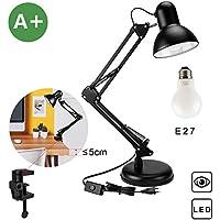 Schreibtischlampe, Klemmleuchte, Aglaia Tischleuchte Buchlampe, verstellbar Arbeitsleuchte mit Gelenk Metallarm, Schwenkarm und eine reguläre E27 Sockel LED Glühbirne