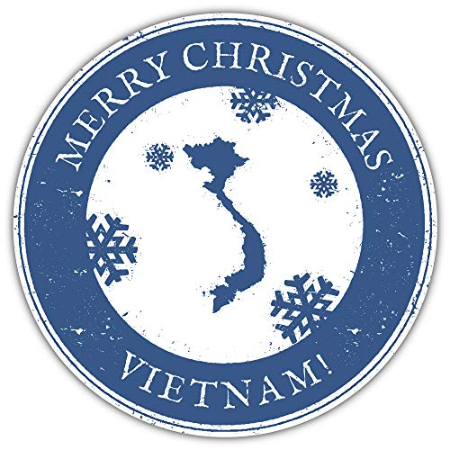 SkyBug Merry Christmas Vietnam Grunge Travel Bumper Sticker Vinyl Art Decal for Car Truck Van Window Bike Laptop