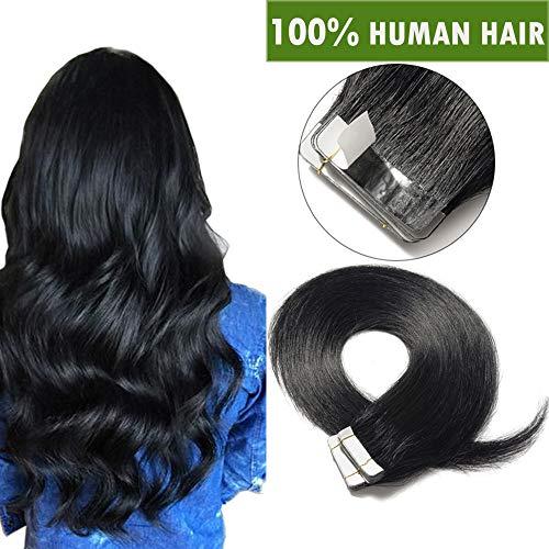 SEGO Tape Extensions Echthaar Haarverlängerung Klebeband Haarteile Glatt 100% remy Haar 20stück Verlängerung +10pcs free tapes Schwarz#1 22