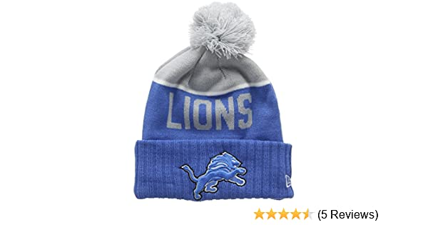 new styles 2d66f 891bb ... closeout new era mens nfl sport knit detroit lions beanie blue team one  size amazon sports