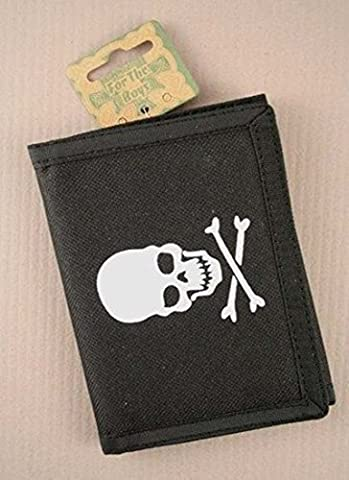 TRIFOLD WALLETS CREDIT CARD HOLDER ZIP PHOTO COMPARTMENT BLACK SKULL CROSSBONE (Skull and crossbones) by Boys