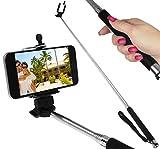 Oramics Selfie Hand-Stativ für Handys - alle Geräte mit iOS und Android - 110cm (Schwarz)