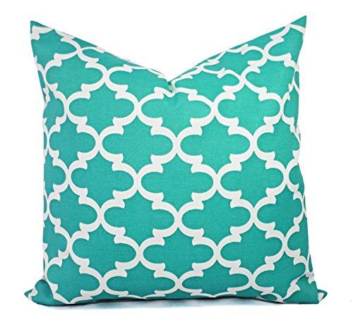 Outdoor Kissenbez¨¹ge Quatrefoil Kissenbez¨¹ge Aqua Pillow Teal Pillow Covers Patio Pillow marokkanisches Fliesenkissen ()