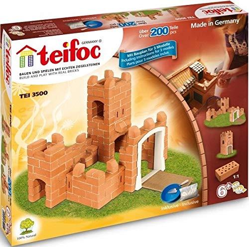 JUEGO DE CONSTRUCCION INFANTIL con ladrillos TEIFOC Modelo Mediano Castillo de 200 pzs Niños +6 años