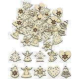 YouN 50pcs 3cm legno decorazioni natalizie fai da te albero di natale appeso ornamenti ciondolo (k)