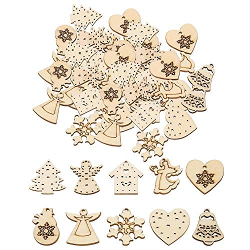 Demiawaking 50Pcs Mixed Christmas Wooden Craft Shapes Hanging Embellishments DIY Scrapbooking Ornaments Pendant Rustic Christmas Decorations