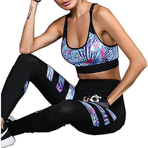 Morbuy Ensemble Sport Yoga, Femmes Vest Top et Leggings Jogging Yoga Gym Fitness Survêtement Haute élasticité Tenue de Sport Causal Sportswear Tenues (L)