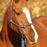 Knotenhalfter mit Strick für Bodenarbeit in tollen Farben Pony, Cob, Full, Groesse:Pony, Farbe:blau