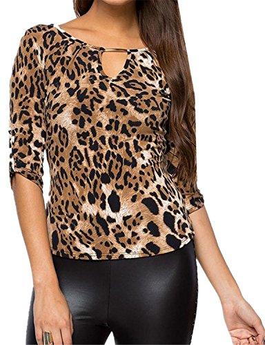 SZIVYSHI Sexy 3/4-Arm/3/4-Ärmeln Rolled aufrollbare Ärmel Zierausschnitt Ausschnitt Neck Schnürung Rücken Leopard Gedruckt Blouse Bluse Shirt Hemd T-Shirt Oberteil Top Braun XL (Rücken Gedruckt T-shirt)