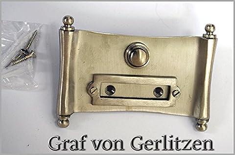 Graf von Gerlitzen Antik Nickel Tür Klingel 1 Türklingel Klingelschild Klingelplatte Papyrus Dokumenten Rolle K84N