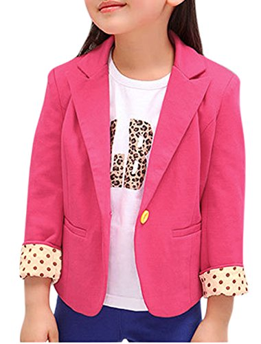 sourcingmap® Girls Peaked Lapel Long Sleeves Blazer Allegra Kids Fuchsia 14