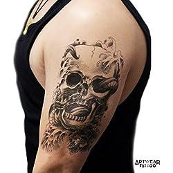 "Temporäre Tätowierung / Temporary Tattoo (water transfert) ""Skull & Snake"" - ArtWear Tattoo - B0217 M"