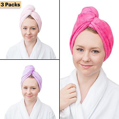 Wrap & Twist super saugfähiges Mikrofaser Haar Handtuch (3er Pack)