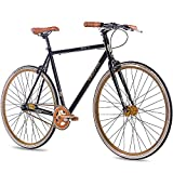 CHRISSON 28 Zoll Vintage Fixie Singlespeed Retro Fahrrad FG Flat 1.0 schwarz Gold - Urban Old School Fixed Gear Bike für Damen und Herren
