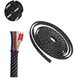 """PET Expandable Braided Sleeve Blackwhite Cable Management Sheath For Home Office Wire Organizer 25ft-1/3"""""""