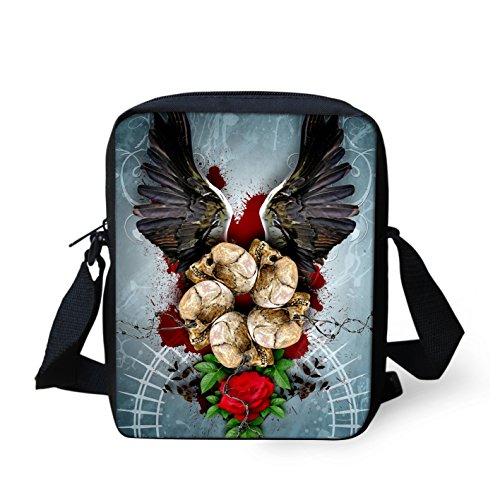 Punk-Rock Design Umhängetasche Rockabilly Style - Skull Design - 23x17 cm Gothic / Emo Tasche (Skull Wings) (Halloween Schmetterling Wings)