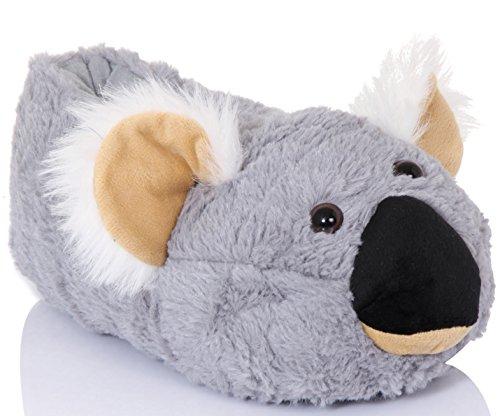 Unisex Tierhausschuhe aus Plüsch - Kinder & Erwachsene Kiki Koala
