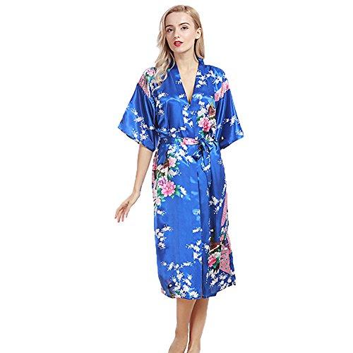 DSJJ Frauen Satin Kimono Robe Spitze Dressing Gown Silk Short Bademantel Nachtwäsche Pyjamas Damen Kurzarm Bademante (Disney Satin-robe)