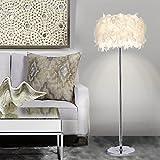 ELINKUME Stehleuchte, Elegant Modern Stylish Stehleuchte mit Federn Schatten Metal Base Pedale Schalter E27 Halter für Wohnzimmer Dekoration Beleuchtung (Weiß)