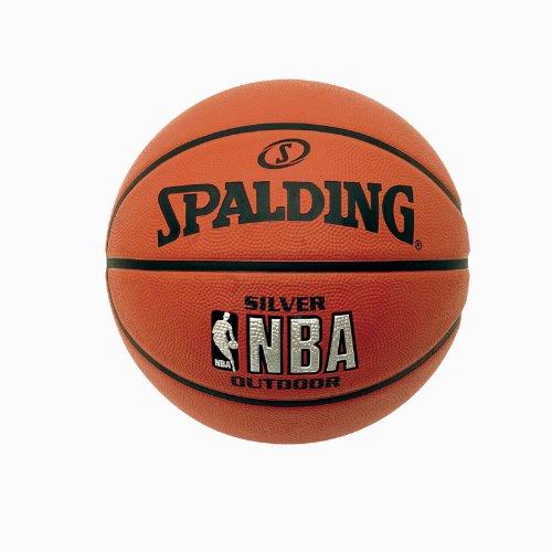 Spalding Ballon de basketball pour extérieur avec logo NBA argenté 3