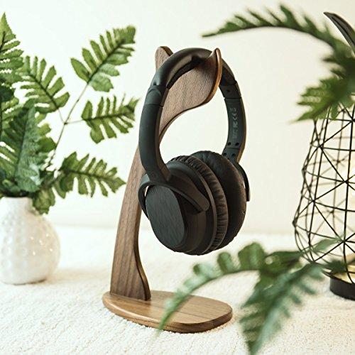 kalibri Kopfhörerhalter Kopfhörerständer Universal aus Holz – Kopfhörer Halter Gaming Headset Halterung – On Ear Headphone Stand – in Walnussholz - 2
