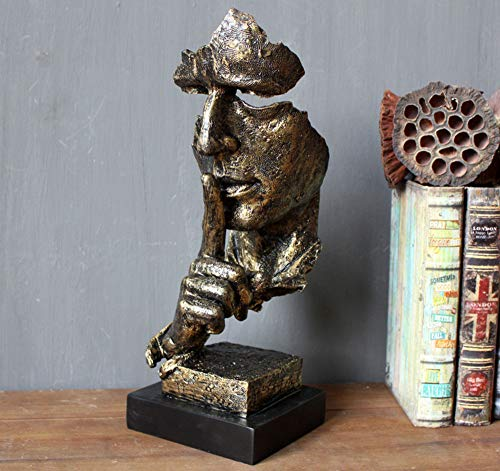 PP&DD Schweigen ist Gold Figur,Kreativ Abstrakte Handwerk Statuen,Skulpturen.Für Office Wohnzimmer Kunst-Geschenk Wohnaccessoires-C 34.5x12.8x3cm(14x5x1inch)