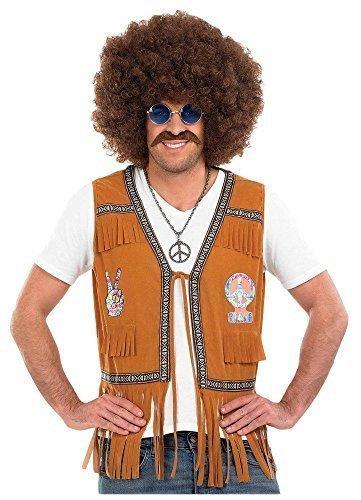 Da uomo 1960s 70s Hippie con frange gilet Top Hippy taglia adulto (Da Hippie Kostüm)