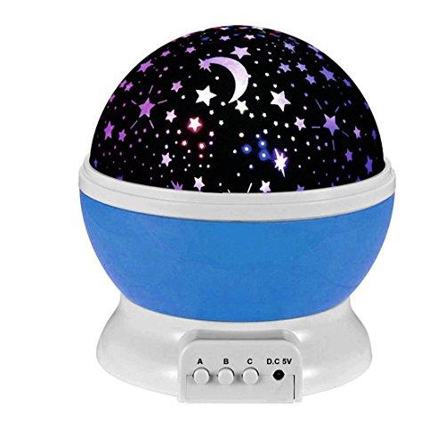 Esonstyle New Generation 360 Grad Romantische Stimmung Stern-Nachtlicht -Lampen-Raum Rotierende Nachttischlampe für Baby-Kinderzimmer Schlafzimmer Kinderzimmer Kinderzimmer (Blau) Decke Sterne Nachtlicht