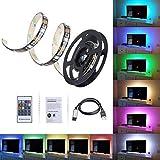 BZAHW TV LED, illuminazione diagonale for HDTV Supporto USB RGB multi-color, 10 livelli di luminosità, 6 modalità telecomando Kit di strisce luminose a LED for decorazioni natalizie, casa, teatro BZAH