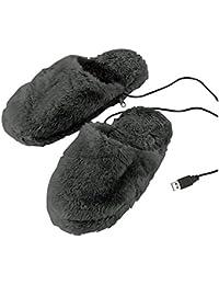 Pantuflas calefactoras mediante cable USB para conectar al ordenador, talla 40-46