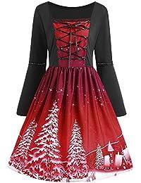 541d5d2956cc5 Natale Vestito Elegante da Sera Moda Vestito Donna Abiti da Cerimonia  Cocktail Party Stampa di Abito
