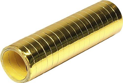 18 Luftschlangen * Gold METALLIC * als Deko für Party, Geburtstag oder Jubiläum // 1 Rolle // Silvester Tischdeko