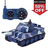 SGILE 1:72 Mini Carro Armato serbatoio RC con Telecomando Panzer Tigre Tedesca Colore Griggio