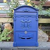 CXQ Europäischen Villa Briefkasten Im Freien Wasserdichte Brief Box Wand Kreative Briefkasten Vorschlag Box Retro Briefkasten Mit Schloss (Color : Mediterranean blue)