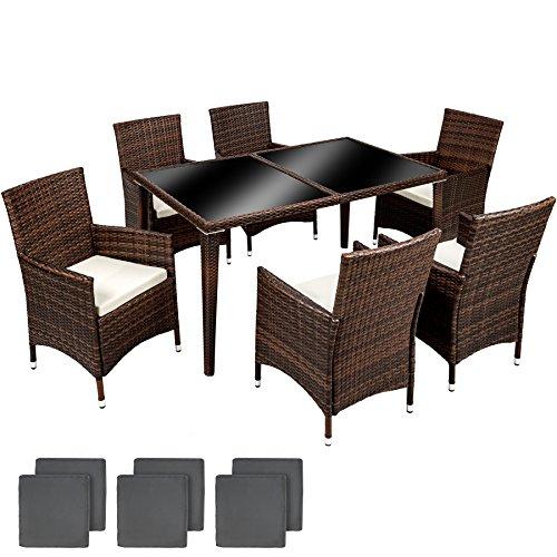 TecTake Aluminium Salon de jardin 6+1 TABLE DE JARDIN EN RESINE TRESSEE CHAISES SALON D'EXTERIEUR POLY ROTIN + DEUX SET DE HOUSSES, vis en acier inoxydable - diverses couleurs au choix - (Noir marron | No. 401990)