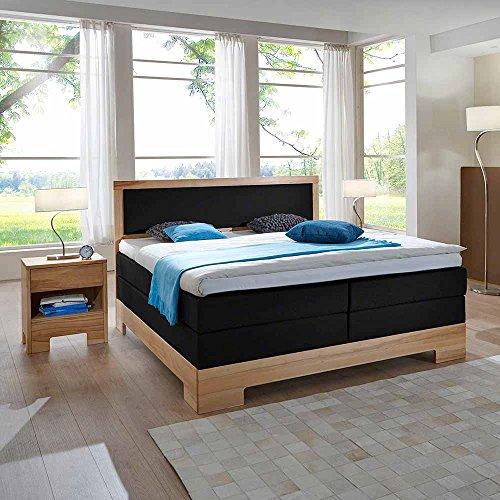 Pharao24 Boxbett in Schwarz Kunstleder Kernbuche Massivholz Breite 180 cm Liegefläche 180x200