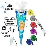 alles-meine.de GmbH Sound Modul & LED Licht Effekt ! - Schultüte -  Prinzessin / Schneekönigin - Eisprinzessin  - 85 cm / 6 eckig - incl. Namen und individueller Schleife - Tül..