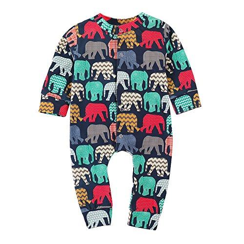 Sunenjoy Combinaison Jumpsuit Bébé Filles Garçons Elephant Bouton Imprimé Barboteuse Romper Manches Longues Bodys Mignon Mode Tenues Vêtements Printemps Eté Automne Hiver 0-24 Mois