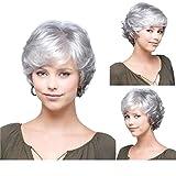 Tonake Perruque pour femme - Cheveux blancs, courts, duveteux, bouclés et argentés